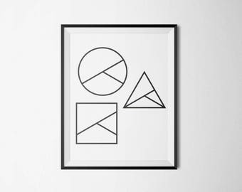 Minimalistic shapes, geometric design print for modern home and office decoration