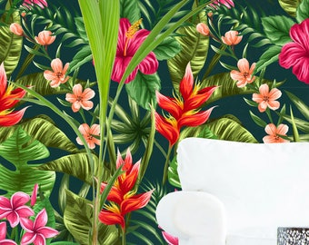 Removable Wallpaper //Peel & Stick // Repositionable // TREES // Easy and Fast Remove // Floral // EXOTIC //FLOWERS Pattern #045