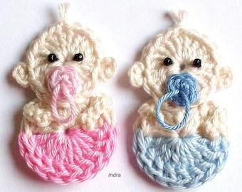 Baby Applique 1 pcs, Baby Crochet Applique, crochet applique, scrapbooking, baby gift