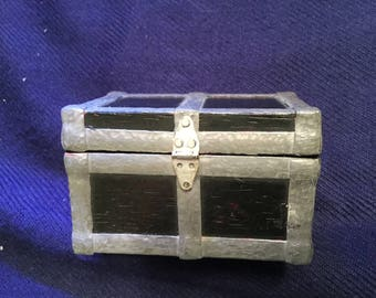 handmade treasure trunk with wood and metal hand finishing. Removable tray.