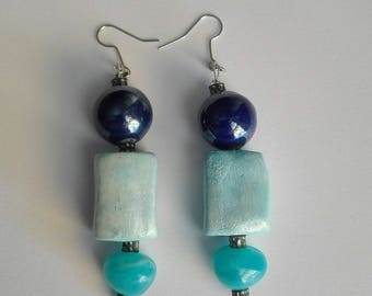 AreCeramica  earrings, handmade with turquoise glass beads nickel free