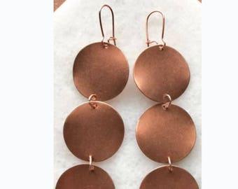 3 Copper Moon Earrings