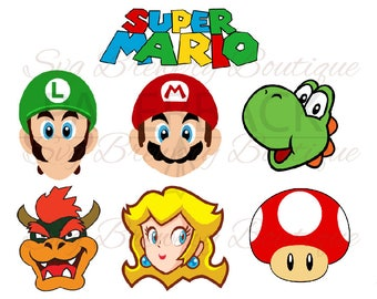 Super mario, luigi, yoshi, bower SVG (layered), PNG, DXF, cricut, silhouette studio, vinyl decal, t shirt design, scrapbooking, party theme