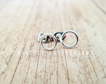Sterling silver studs, Circle earrings, Circle studs, Minimalist Jewellery, Best friend gifts, Gifts for her, Under 20