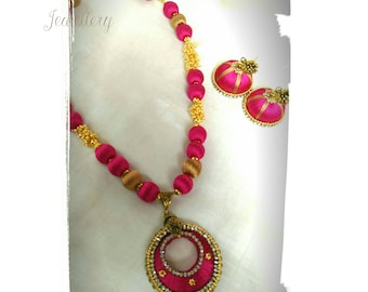 Pink Silk Thread golden set