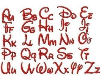 Disney Machine Embroidery Font Set Includes 1 2 3 & 4 Inch Sizes in Upper and Lowercase