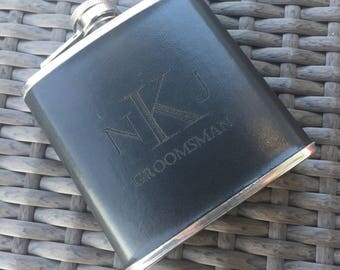 Engraved Black Leather Wrapped Flask. Give as a Groomsmen Gift. Great for a Father's Day Gift. Wedding Party. Will you be my Groomsman?