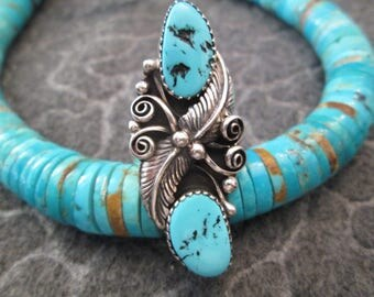 Long & Lean>>  Double SLEEPING BEAUTY TURQUOISE Stone Ring>> Solid Sterling Silver> > Exquisite!!