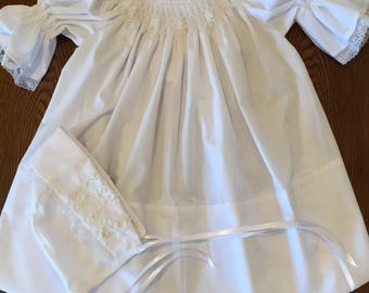 English smock Christening dress and bonnet