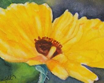 "Watercolor painting, floral art, Under 25 dollars, affordable art ""Sweet calendula"""