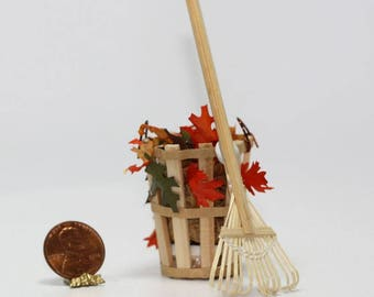 Dollhouse Miniature Leaf Rake w/Tall Basket of Fall Leaves
