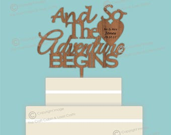 And So The Adventure BEGINS - Wooden Personalised Cake Topper. Vintage Weddings