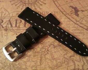 Handmade 24mm genuine leather military watch strap fit Panerai,other AMMO #4