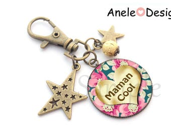 Keychain gift MOM - Cool MOM! cabochon rose heart flowers gold gift idea