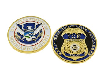 Department of Homeland Security (DHS) Seal Federal Protective Service (FPS) Police Badge Challenge Coin Gold Plated