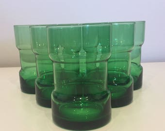 Set of 6 Beautiful Retro Emerald Green Glass 1970