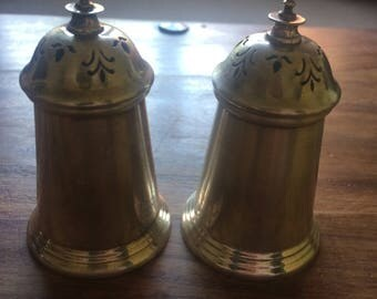 Antique English Silver Salt & Pepper Shakers 1983