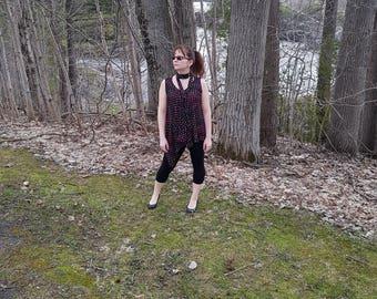blouse black, vaporous, multicolored polka-dot, with belt, asymmetric