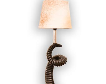 Horn table lamp in rustic chic cream with cow hide, fur shade
