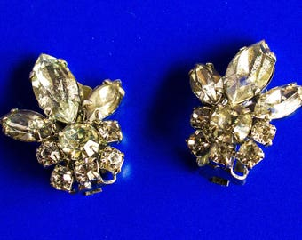 Gorgeous Vintage Clear Rhinestone Clip On Earrings Bridal Prom
