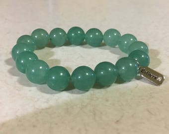 Believe Emerald Glass Beaded Bracelet