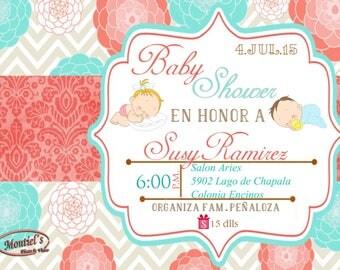7x5 Baby Shower Digital Invitation