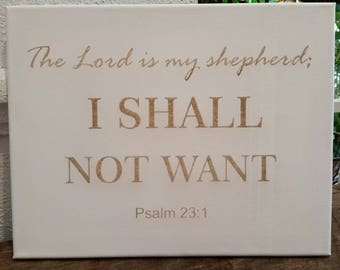 """The Lord is My Shepherd 8""""x11"""" Laser Engraved Canvas"""