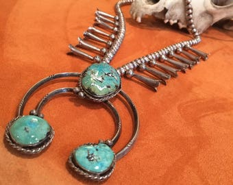 Vintage Navajo Turquoise and Sterling Silver Squash Blossom Necklace