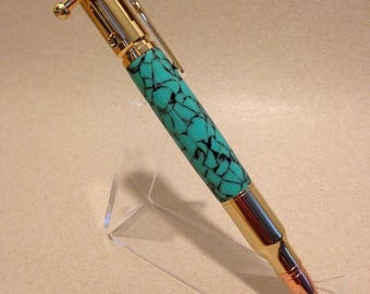 30 Caliber Bolt-Action Ballpoint Pen | Gold and Turquoise | Rifle Bullet Pen