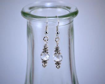 Clear Faceted Crystal Silver Drop Earrings