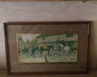 "G Wright hunting print,  ""At the three horseshoes"" framed"