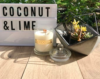 Coconut & Lime Pure Soy Wood Wick Candle (320g)