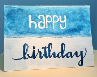 Hand Painted Greeting Card - Happy Birthday