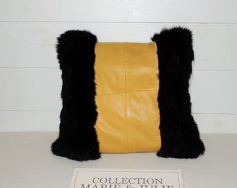 Decorative leather and fur cushion