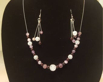 Fancy glass round bead necklace and earring set