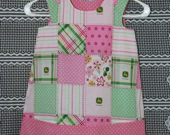 Toddler Girls Dress John Deere Motif and Polka Dots Print Jumper Dress, Summer Dress with clip hair bow, Pinafore Dress, Size 2T