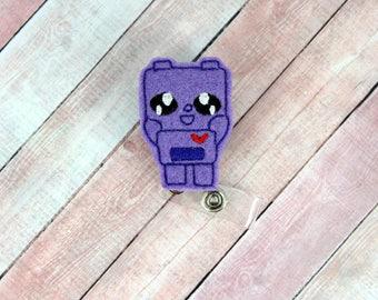 Kawaii Robot Badge Reel - Kawaii Robot - Feltie Badge Reel- Retractable ID Badge Holder - Badge Pull.