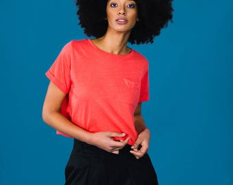 Coral Fairtrade and Organic Slub Pocket Tee