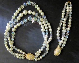 Vintage Laguna Necklace & Bracelet 1950s Jewelry Costume