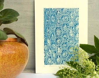 Wall Art, Art Print, Home Decor, Gifts for Home, Small Screenprint, Blue Print, Abstract Print, Pretty Print, Natural Pattern, PRINT ONLY