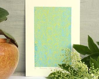 Screen Print, Modern Art, minimalist, Pattern Print, Small print, Hand Printed, Silkscreen Print, Paper Anniversary Gift, Blue Print