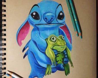 Lilo Stitch Drawing 9x12 inch