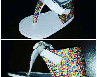 White Sandal with Neon Multi-Color Bling