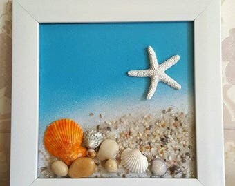 Handmade seashells painting, 3D style, decorated with sand, small seashells and starfish. Size 18*18cm