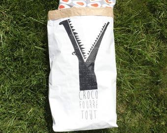 Paper bag / large paper bag / Slow life / storage room / Kraft white silkscreen hand