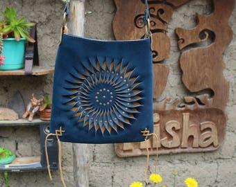 Blue Leather Handbag - Leather Purse - Special Handbag - Spiral Handbag - Peruvian Leather Design - Leather Bag - Bohemian Handbag - Mandala