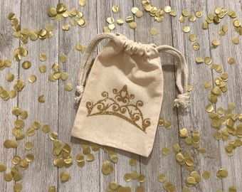 Crown-Princess-Queen-Gold-Glitter-Muslin Bag-Birthday-Kids-Party Favors