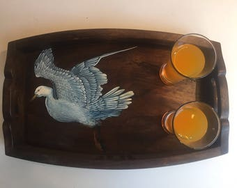 Rustic wooden tray handpainted tray indian vintage style tray