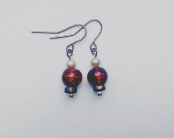 Red Glass and Pearl Earrings #010