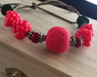 Bracelet with raspberries polymer clay